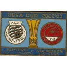 Матчевый значок КУБОК УЕФА 2002 между ФК НИСТРУ Атаки (Молдова) - ФК АБЕРДИН (Шотландия)