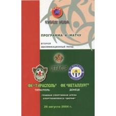 Программа ФК Тирасполь (Молдова) - ФК Металлург Донецк (Украина) 26.08.2004