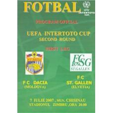Программа ФК Дачия Кишинев (Молдова) - ФК Сент Галлен (Швейцария) 07.07.2007