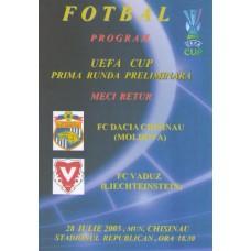Программа ФК Дачия Кишинев (Молдова) - ФК Вадуц (Лихтенштейн) Кубок УЕФА 25.07.2005