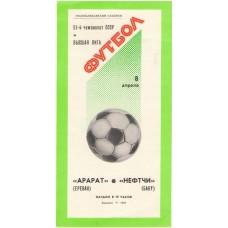 Программа Арарат Ереван - Нефтчи Баку высшая лига Кишинев 08.04.1988