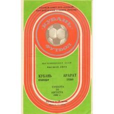 Программа Кубань Краснодар - Арарат Ереван 28.08.1982