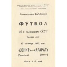 Программа Зенит Ленинград - Арарат Ереван Высшая лига 10.09.1983