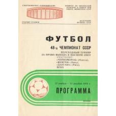 Программа переходного турнира за выход в высшую лигу 27.11 - 15.12.1985 Москва